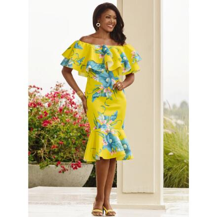 Color Closeout Tropica Flounce Dress by Studio EY