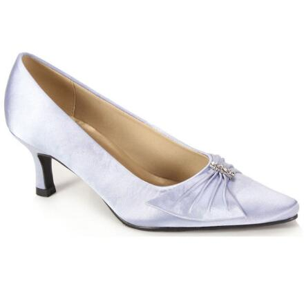 Color Closeout Wrapped Bow Satin Pump by EY Boutique