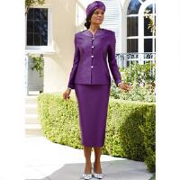 CLOSEOUT COLOR. LIMITED QUANTITIES. ACT FAST. The luxe look and feel of soft crepe fabric with rich trapunto satin trim and glam jeweled embellishments elevate this bold and bright two piece suit to a whole new level of elegance. Collarless 24 1 2 jacket features a unique, embellished neckline; jeweled button and loop front closures; long sleeves with split, embellished cuffs; and slimming princess seams. 32 skirt has a side elastic waist and a back closure. 100 polyester. Dry clean. Imported. NOTE: Clearance items are FINAL SALE.