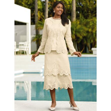 Color Closeout Scallops 'n' Tiers 3-Pc. Linen Skirt Set by EY Boutique