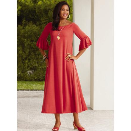 Color Closeout Ruffle-Sleeve Maxi Dress by Studio EY