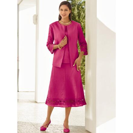Color Closeout Lattice-Trim 3-Pc. Linen Skirt Set by EY Signature