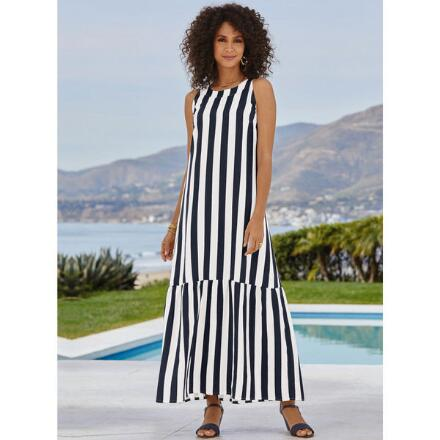 Color Closeout Striking Stripes Linen Maxi Dress by EY Signature