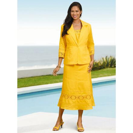 Color Closeout Coastal Linen 3-Pc. Jacket, Tank & Skirt Set by EY Signature