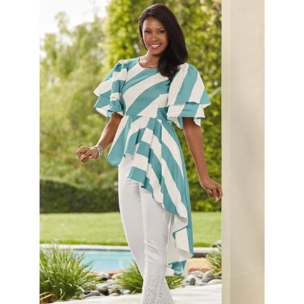 Color Closeout Cascading Stripe Top by Studio EY