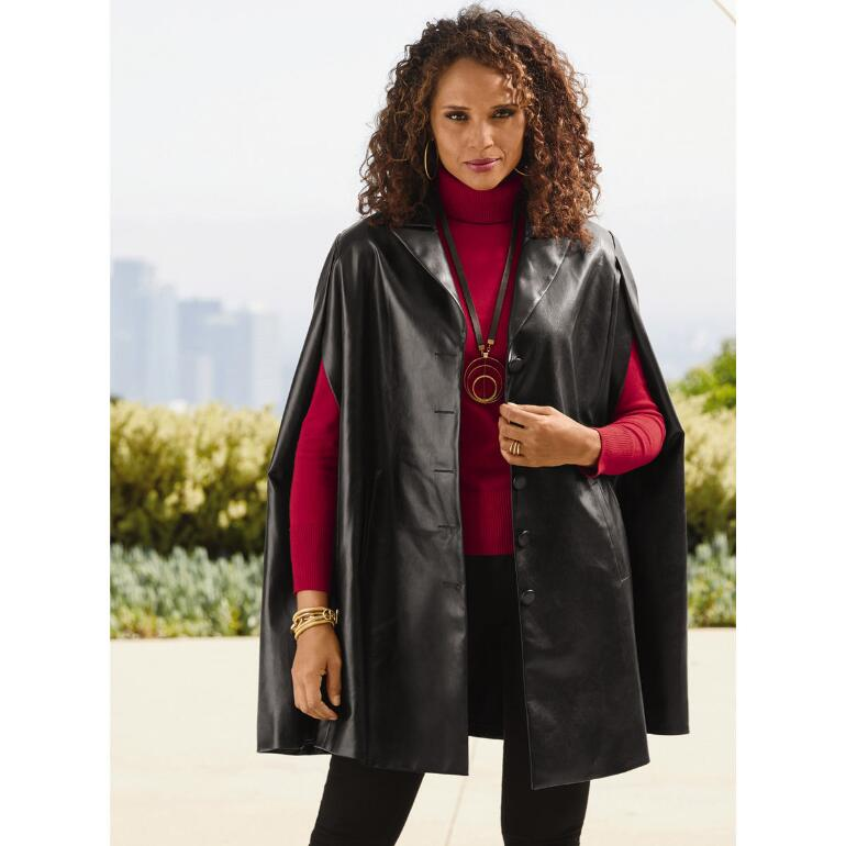Color Closeout Look of Leather Cape by Studio EY