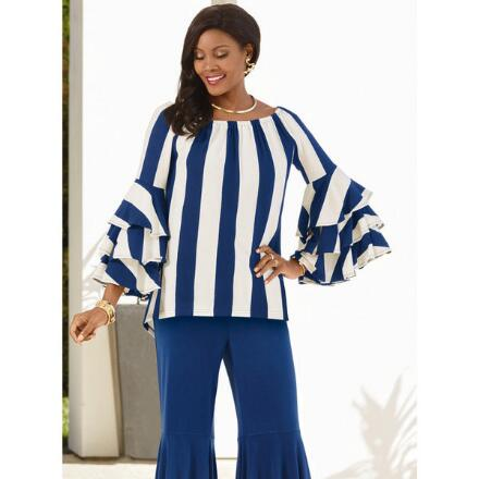 Color Closeout Tiers and Stripes Top by Studio EY