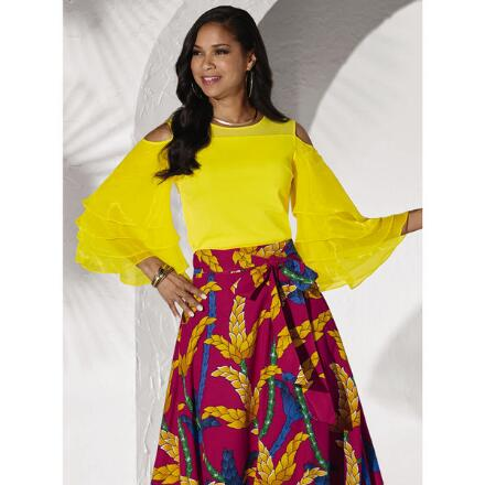 Tiered-Sleeve Top by Studio EY