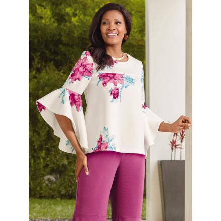 Floral Flutter-Sleeve Top by Studio EY