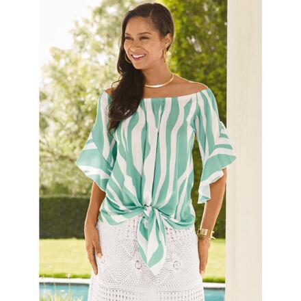 Waves of Stripes Tied Top by Studio EY