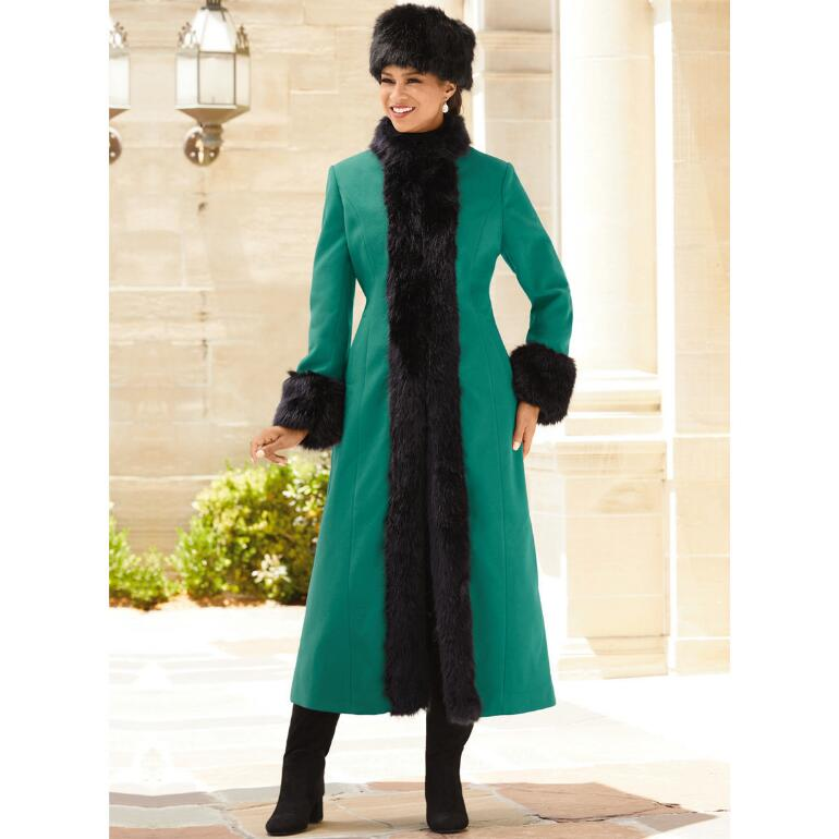 Royal Faux-Fur Trim Coat and Hat Set by LUXE