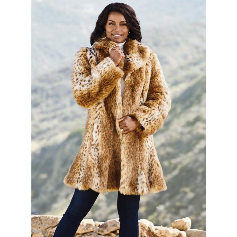 Luxury of Lynx Faux-Fur Coat by LUXE