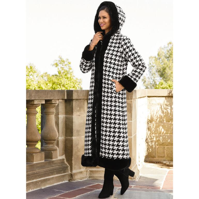 Houndstooth Luxe-Trim Coat by LUXE