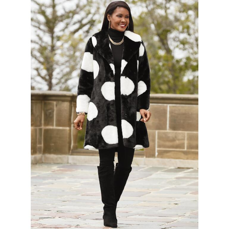 Big on Dots Faux-Fur Coat by LUXE