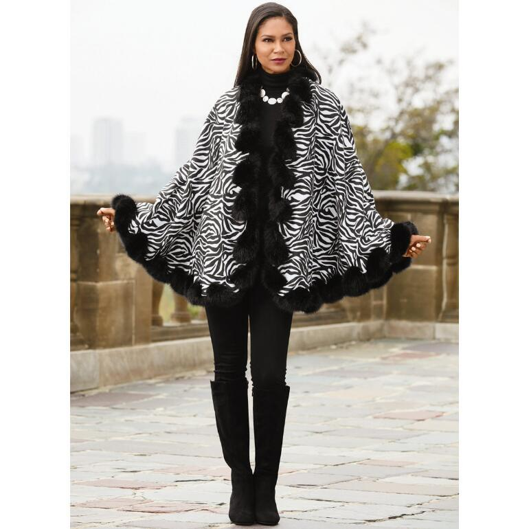 9897968b2 Faux-Fur Trim Zebra Cape by LUXE