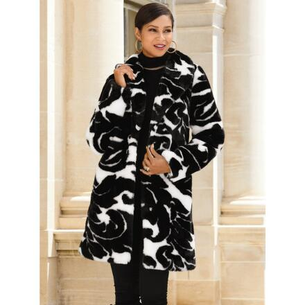 Bold Scrolls Faux-Fur Coat by LUXE