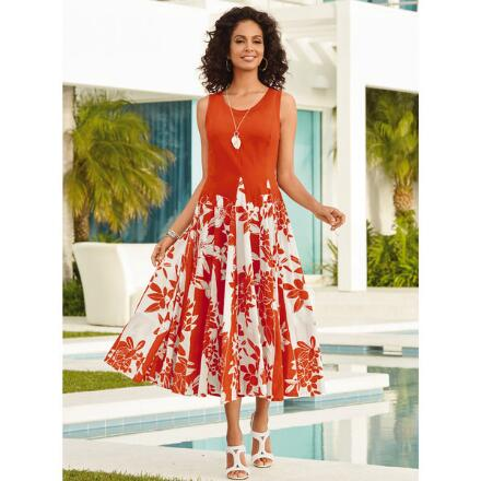 Color Closeout Floral Border Dress by Studio EY