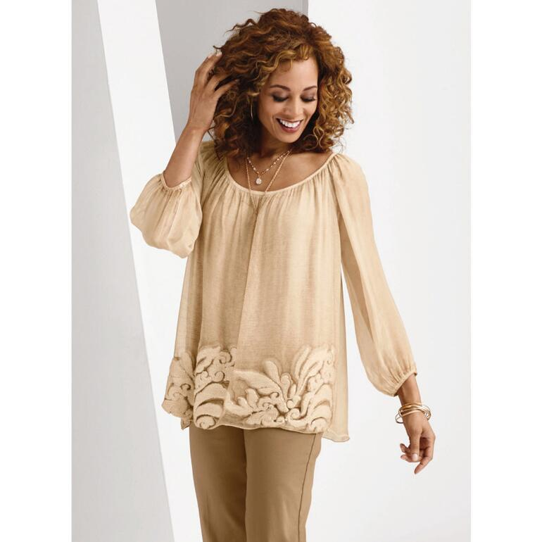 Shirred Scoop Neck Tunic