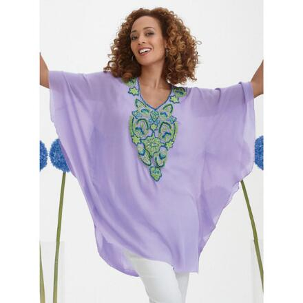 Beaded Placket Crinkle Tunic