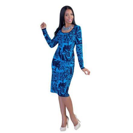 Block Print Bodycon Dress by Kayla